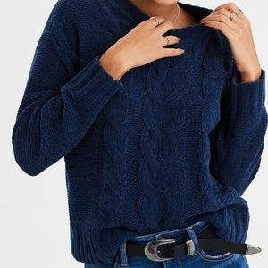 American Eagle | AE  Cable Knit Sweater in Navy M